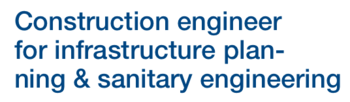 "Text label ""Construction engineer for infrastructure planning and sanitary engineering"""